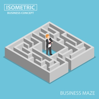 Uomo d'affari confuso bloccato in un labirinto isometrico