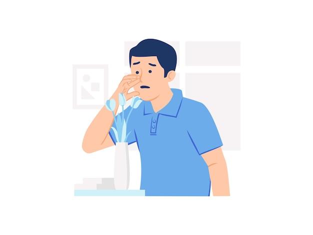 L'uomo confuso non può annusare la perdita del senso dell'olfatto illustrazione del concetto di anosmia