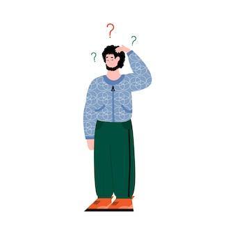 Uomo confuso con punti interrogativi che fluttuano sopra la sua testa