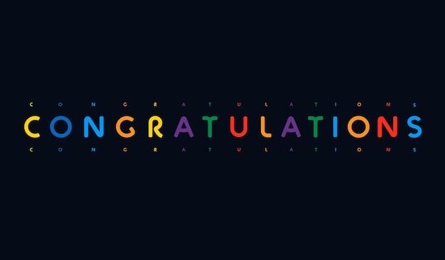 Congratulazioni scritte poster colorato saluto banner lettere a colori per bambini compleanno infanzia