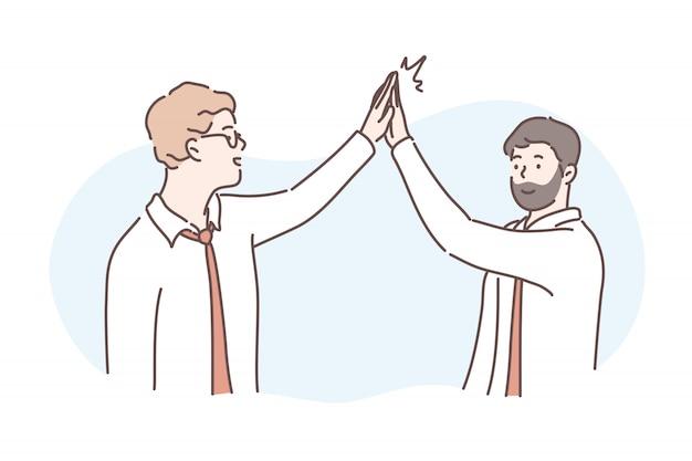 Congratulazioni, amicizia, successo, concetto di business