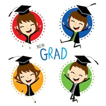 Congratulazione nuovo laureato simpatico cartone animato