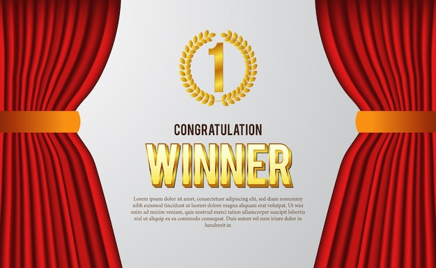 Congratulazioni per il certificato di vincitore per il meglio del concorso con corona di alloro emblema d'oro con sfondo bianco tenda rossa