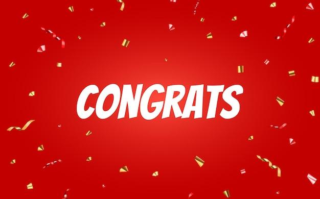 Congratulazioni banner design con coriandoli e nastro glitterato lucido