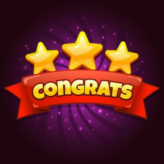 Schermata di gioco di congratulazioni