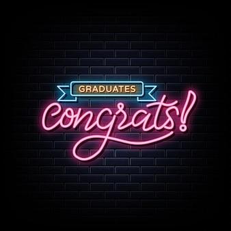 Congratulazioni laureato segno al neon simbolo al neon