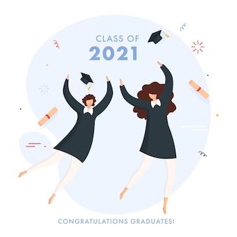 Congratulazioni classe laureati del concetto 2021 con studentesse allegre su sfondo bianco.