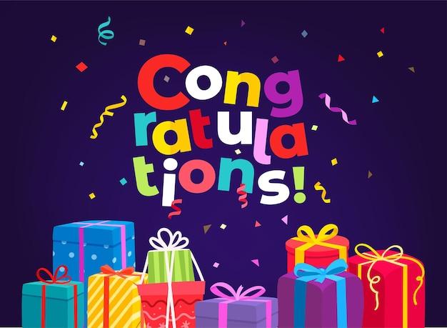 Congratulazioni. biglietto di auguri vacanza