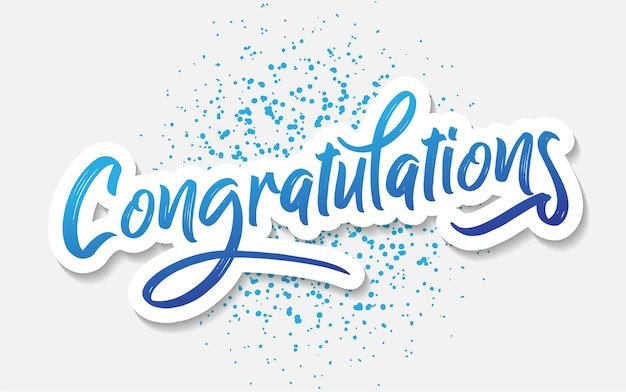 Vettore del messaggio dell'iscrizione di congratulazioni per accogliere