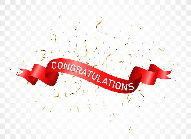 Congratulazioni firmare lettere banner con coriandoli
