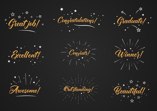 Parola di congratulazioni con fuochi d'artificio