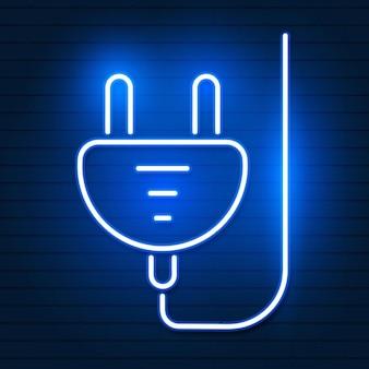 Collega l'icona al neon blu incandescente. segno luminoso logo vettoriale