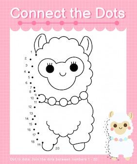 Collega i punti: alpaca - giochi punto per punto per i bambini che contano il numero 1-20