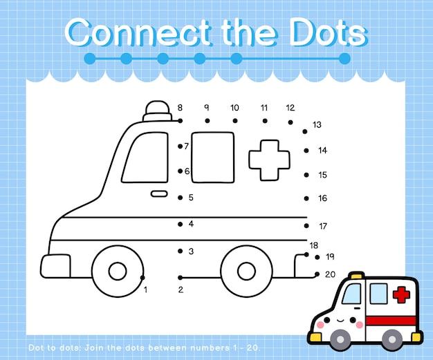 Collega l'ambulanza a punti: giochi punto per punto per bambini che contano il numero 1-20