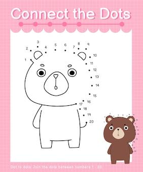 Unisci i puntini big bear: giochi punto per punto per bambini che contano il numero 1-20