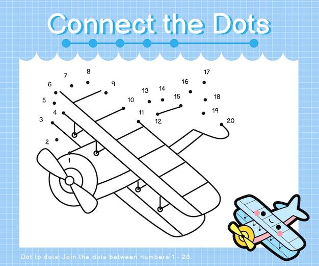 Collega il biplano a punti: giochi da punto a punto per bambini che contano il numero 1-20