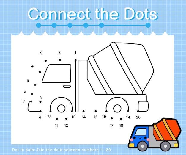 Unisci i puntini camion di cemento - giochi punto per punto per bambini che contano il numero 1-20