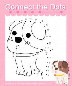 Unisci i punti: cane - giochi punto per punto per i bambini che contano il numero 1-20