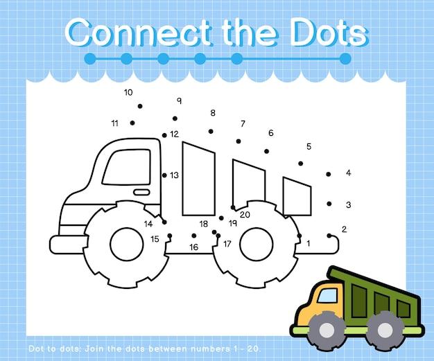 Collega i puntini drumptruck - giochi punto per punto per bambini che contano il numero 1-20