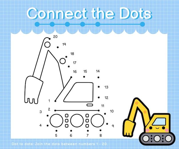 Collega l'escavatore a punti: giochi punto per punto per bambini che contano il numero 1-20