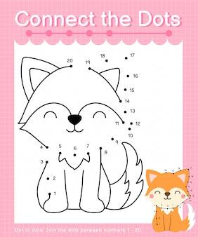 Unisci i punti: fox - giochi punto per punto per i bambini che contano il numero 1-20