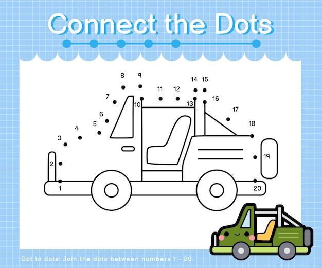 Collega la jeep a punti: giochi da punto a punto per bambini che contano il numero 1-20