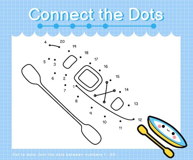 Collega i punti kayak: giochi punto per punto per bambini che contano i numeri 1-20