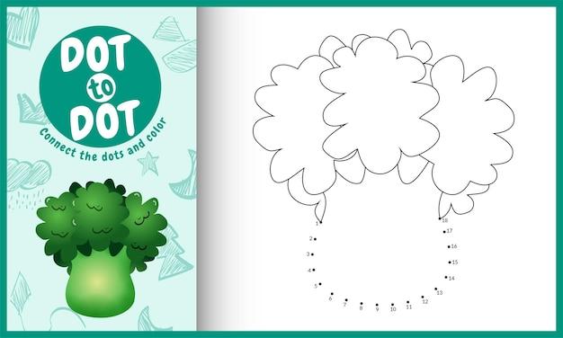 Collega il gioco per bambini a punti e la pagina da colorare con un'illustrazione di broccoli