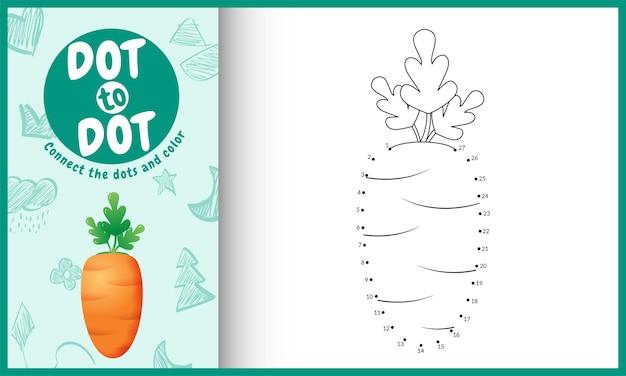 Collega il gioco per bambini a punti e la pagina da colorare con un'illustrazione di carota