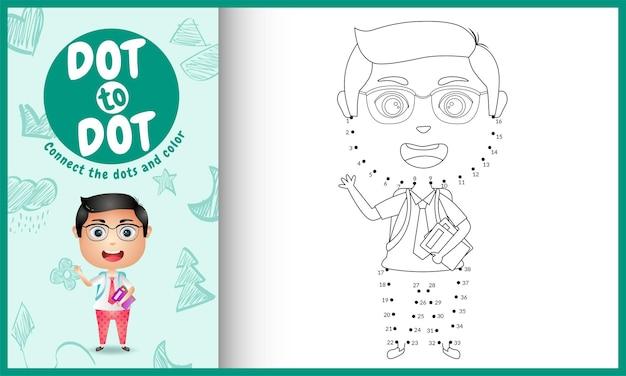 Collega il gioco per bambini a punti e la pagina da colorare con un'illustrazione di carattere studente ragazzo carino
