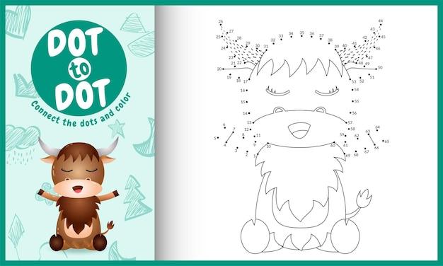 Collega il gioco e la pagina da colorare per bambini con un simpatico bufalo