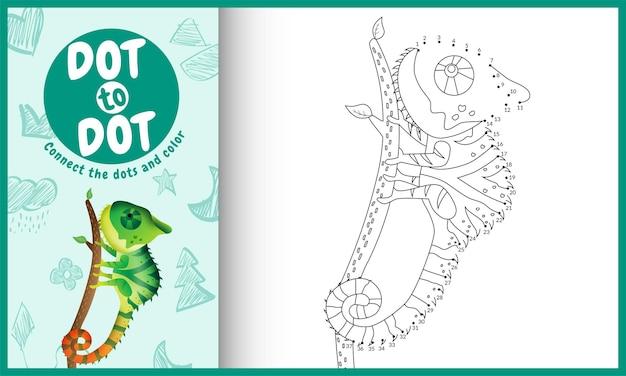 Collega il gioco per bambini a punti e la pagina da colorare con un simpatico camaleonte