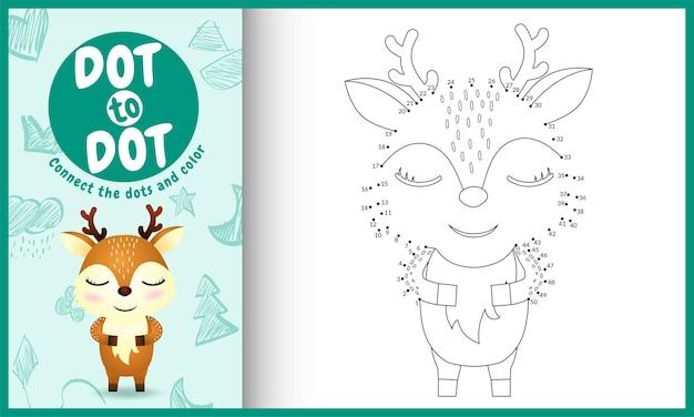 Collega il gioco per bambini a punti e la pagina da colorare con un simpatico cervo