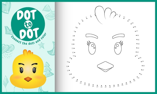 Collega il gioco per bambini a punti e la pagina da colorare con un pulcino dal viso carino