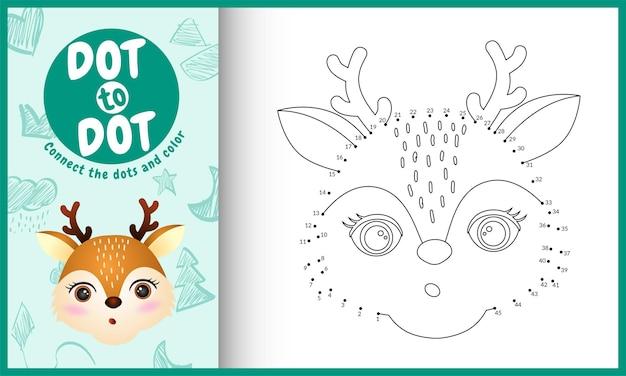 Collega il gioco per bambini a punti e la pagina da colorare con un'illustrazione del personaggio di un cervo dal viso carino
