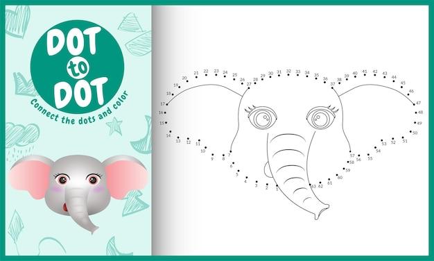 Collega il gioco per bambini a punti e la pagina da colorare con un elefante dal viso carino