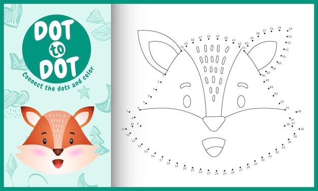 Collega il gioco per bambini a punti e la pagina da colorare con una volpe dal viso carino