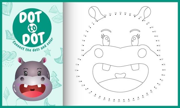 Collega il gioco per bambini a punti e la pagina da colorare con un ippopotamo dal viso carino