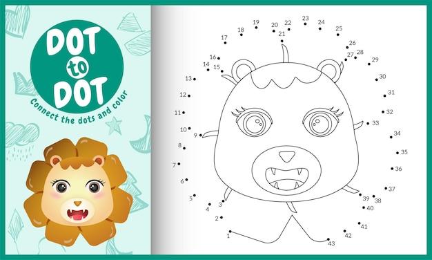 Collega il gioco per bambini a punti e la pagina da colorare con un leone carino