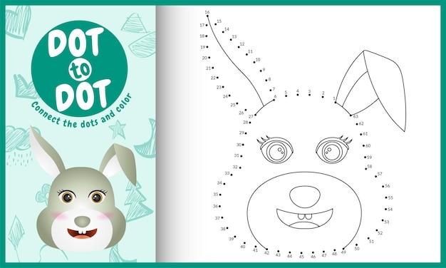 Collega il gioco per bambini a punti e la pagina da colorare con un coniglio dal viso carino Vettore Premium