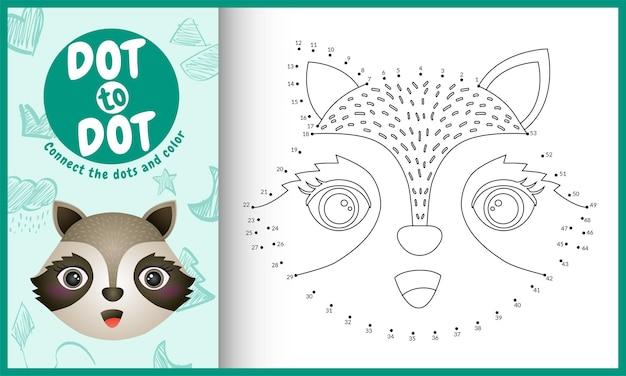Collega il gioco per bambini a punti e la pagina da colorare con un'illustrazione del personaggio di un procione carino