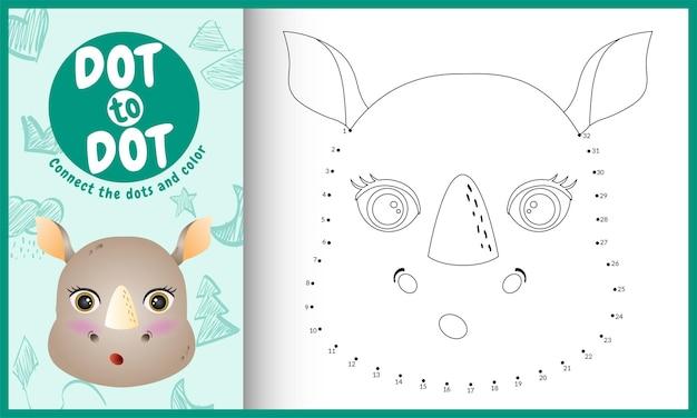 Collega il gioco per bambini a punti e la pagina da colorare con un'illustrazione del personaggio di rinoceronte dal viso carino