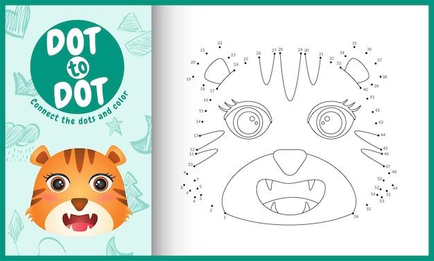Collega il gioco per bambini a punti e la pagina da colorare con un'illustrazione del personaggio della tigre dal viso carino