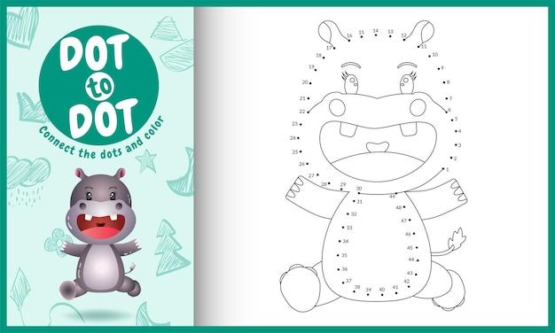Collega il gioco per bambini a punti e la pagina da colorare con un'illustrazione di un simpatico ippopotamo