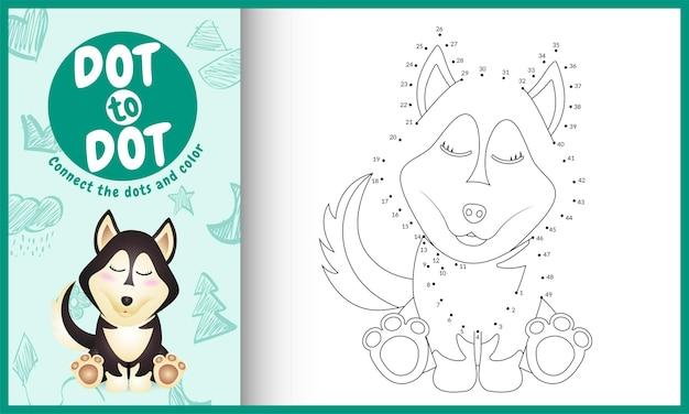 Collega il gioco per bambini a punti e la pagina da colorare con un simpatico personaggio di cane husky