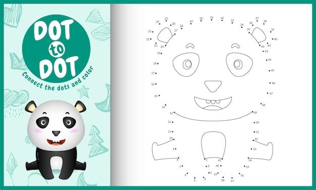 Collega il gioco per bambini a puntini e la pagina da colorare con un'illustrazione di un simpatico panda