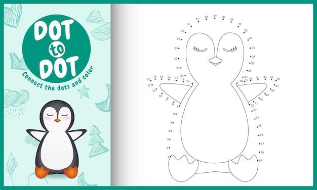 Collega il gioco per bambini a punti e la pagina da colorare con un'illustrazione del simpatico pinguino