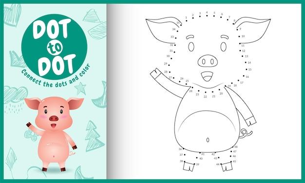 Collega il gioco per bambini a punti e la pagina da colorare con un'illustrazione di un simpatico maiale