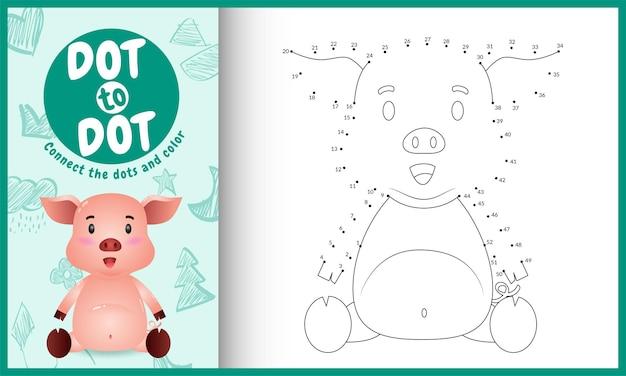 Collega il gioco per bambini a punti e la pagina da colorare con un simpatico personaggio di maiale