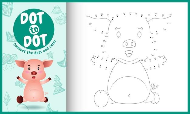 Collega il gioco per bambini a punti e la pagina da colorare con un maiale carino
